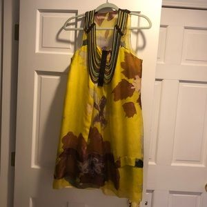 Rozae Nichols Silk and leather dress hand beaded